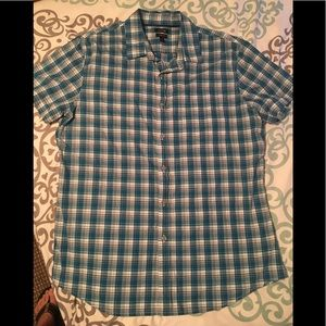 APT.9 blue plaid slim fit shirt LNC size L